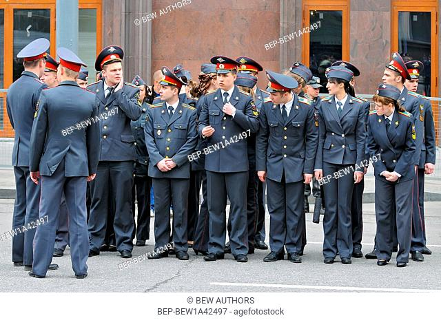 Russia, Moscow, Russian police of the Russian Communist Party participate in the 1st of May Day parade in Moscow
