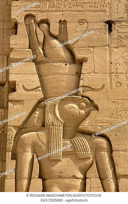 Relief of the God Horus, Second Pylon, Temple of Isis, Island of Philae, Aswan, Egypt