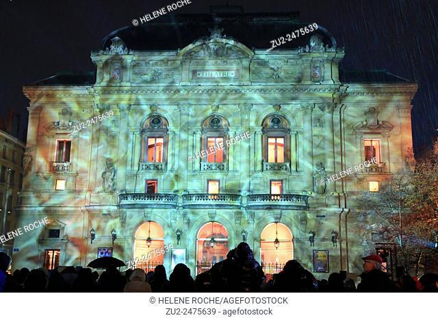 Festival of lights, Celestin Theatre, Lyon, France