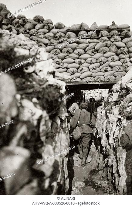 World War I: Italian trenches in Podgora (today Piedimonte of Calvary), shot 07/1916 by Stabilimento Fotografico Militare