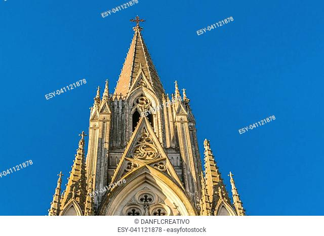 Low angle exterior view of neogothic style church at Montevideo city, Uruguay