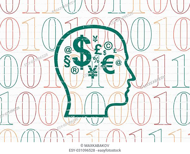 Business concept: Painted green Head With Finance Symbol icon on White Brick wall background with Binary Code, 3d render