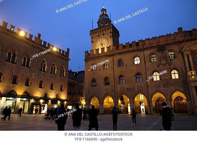 Palazzo Comunale Town Hall at Piazza Maggiore  Bologna  Italy
