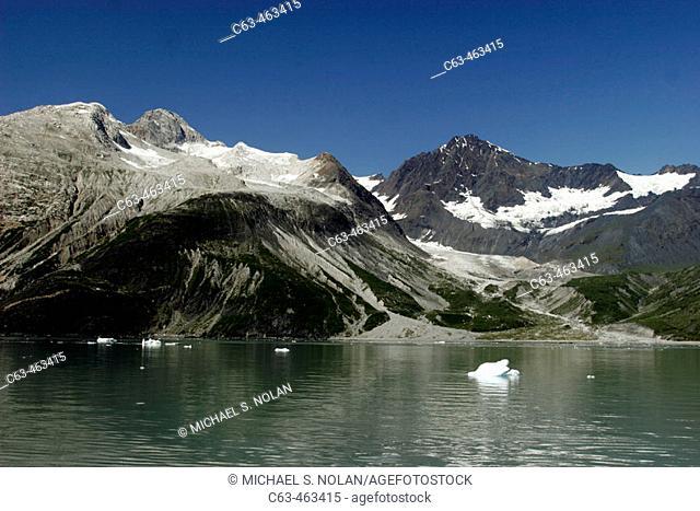 Bergy bits floating in Galcier Bay National Park, Southeast Alaska, USA