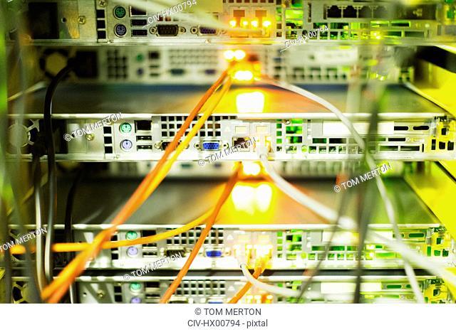 Close up server room cables