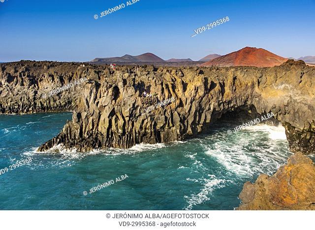 Volcanic coast, Los Hervideros. Lanzarote Island. Canary Islands Spain. Europe