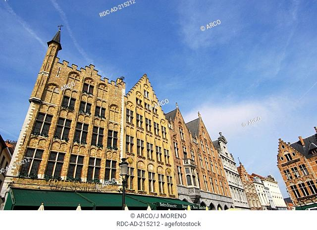 Row of houses, Grand Place, Bruges, Flanders, Belgium, Grote Markt
