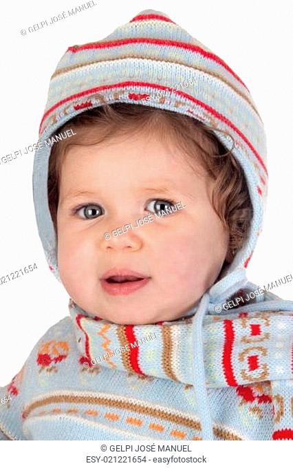 Funny baby girl with winter clothing
