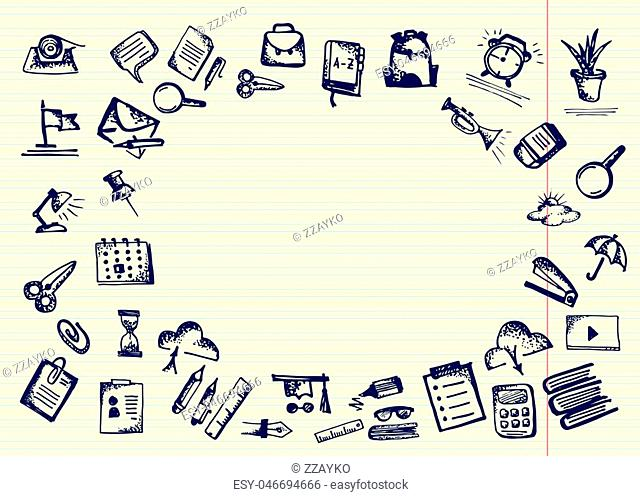Back to school. Hand drawn school icons and symbols on notebook page. With place for your text Vector illustration