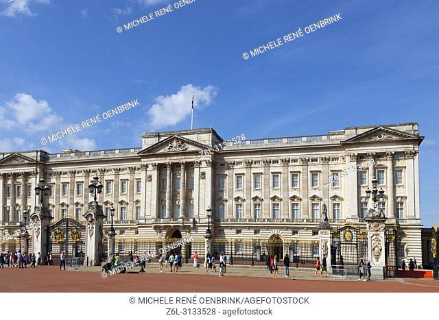 Buckingham Palace in London England headquarters of the monarch of the United Kingdom