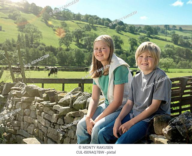 Farmer's children sitting on dry stone wall, portrait