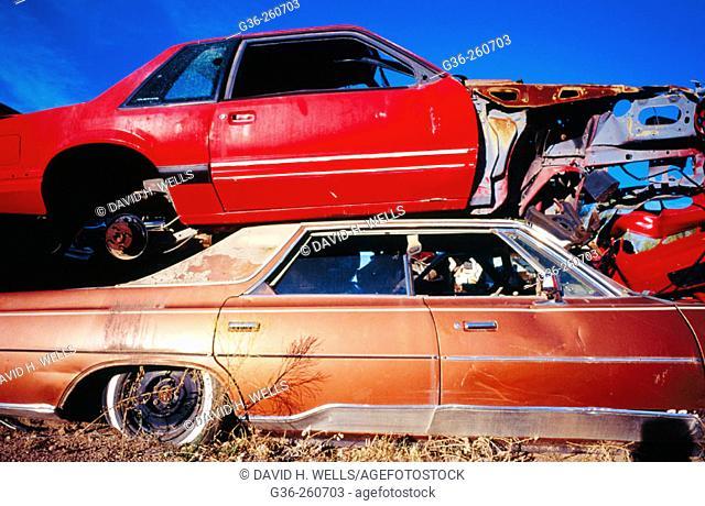 Automobile junkyard parts. Mexico