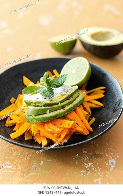 Pumpkin noodles with avocado, limes and mint yoghurt
