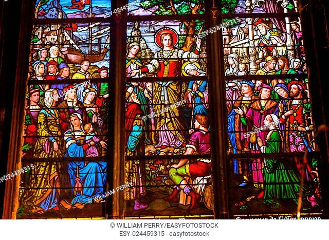 Saint Marie Madeleine Postel Stained Glass Saint Severin Church Paris France. Saint Severin one of oldest churches Paris located in the Latin Quarter