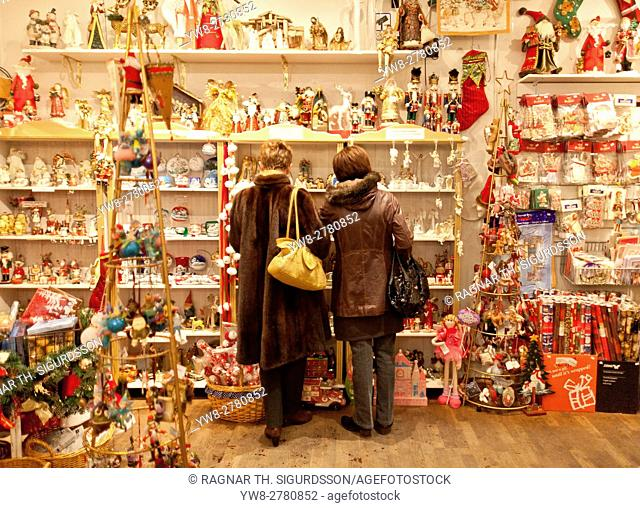 Women shopping in a Christmas store, Reykjavik, Iceland