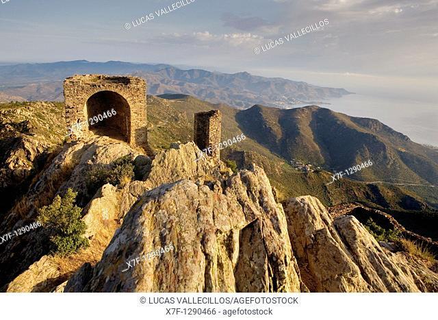 View from The ruins of Sant Salvador de Verdera castle Costa Brava  Girona province  Catalonia  Spain