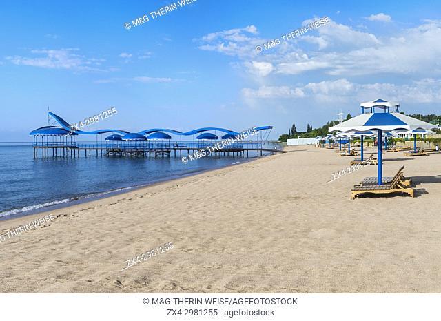 Karven resort beach, Issyk Kul lake, Kyrgyzstan, Central Asia