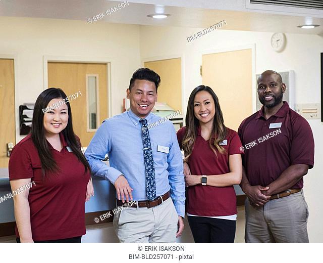 Portrait of smiling medical team in hospital