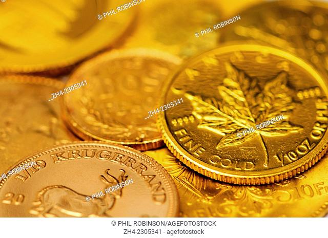 Small gold coins including 10th Krugerrand and Canadian 10th oz Maple Leaf