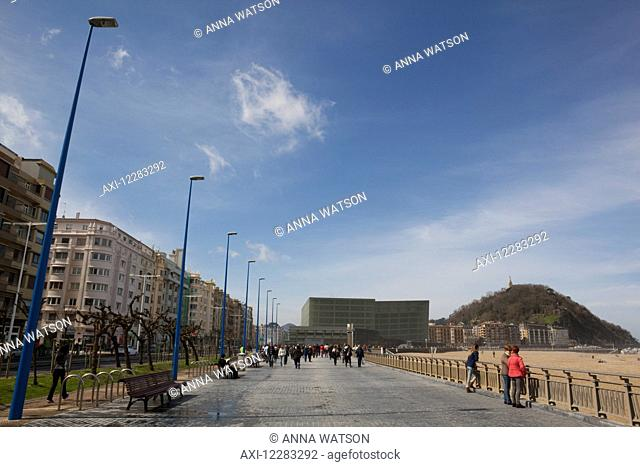The two glass cubes of the Kursaal, cultural centre, next to the Rio Urumea and the Zurriola beach in the Gros district; San Sebastian, Spain