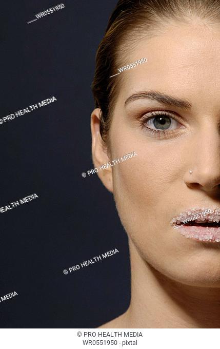Natural cosmetics : salt - face of a young woman