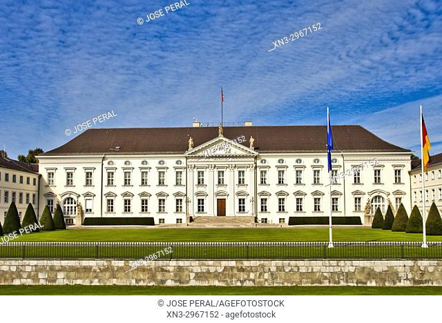 Schloss Bellevue, Bellevue Palace, official residence of the President of Germany, Tiergarten district, Berlin, Germany
