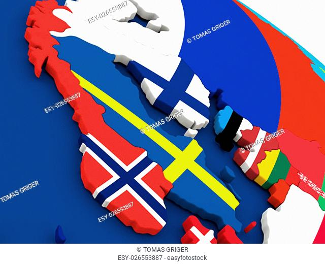 Map of Scandinavia on globe with embedded flags of countries. 3D illustration