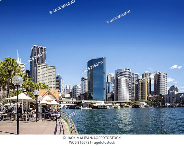 central sydney CBD area skyline and circular quay in australia from waterside promenade