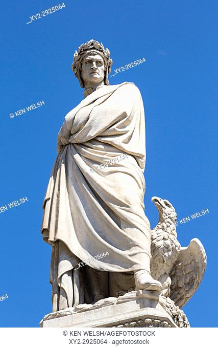 """Florence, Florence Province, Tuscany, Italy. Statue of Italian poet Dante Alighieri, 1265 â. """" 1321, in front of Santa Croce church"""