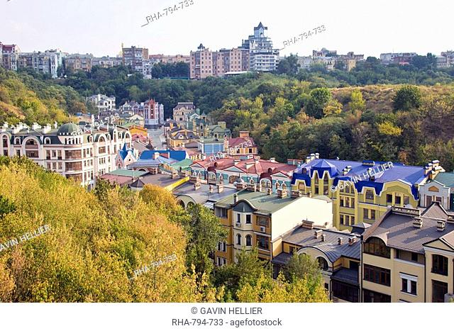 Elevated view over colourful buildings with multicolor roofs in a new residential area of Kiev, Ukraine, Europe