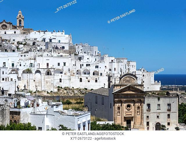 Looking across the rooftops of Ostuni towards the 15th cen. cathedral, Puglia, Italy