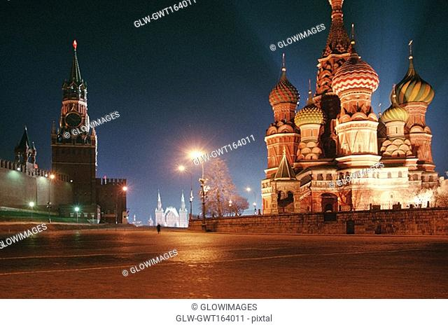 Low angle view of a cathedral and a Kremlin, St  Basil's Cathedral, Red Square, Moscow, Russia