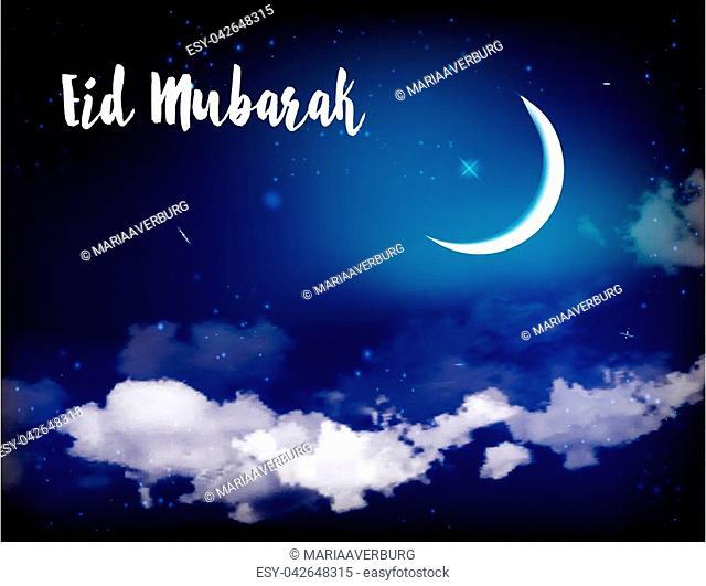 Eid Mubarak background with moon and stars, holy month, Ramadan Kareem. Vector illustration