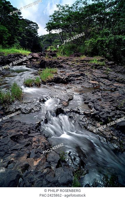 Hawaii, Hilo, Rainwater flows through Boiling Pots Park
