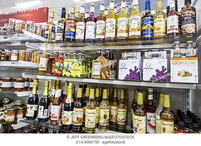 Florida, Stuart, HomeGoods, discount home furnishings decor, display sale, shopping, interior, gourmet foods, flavoring syrups, Monin, imported soda, shelves