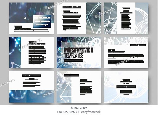 Set of 9 vector templates for presentation slides. DNA molecule structure on a blue background. Science vector background