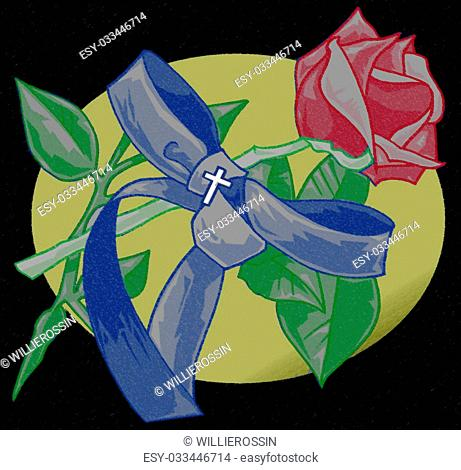 Computer generated illustration of a rose and a ribbon