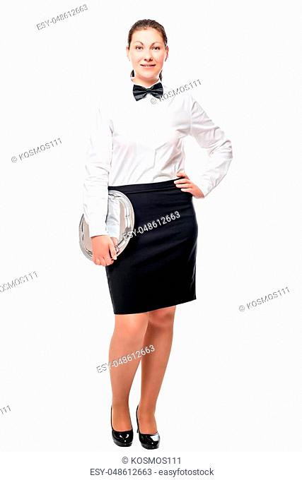 waitress with a tray in full length isolated on white background