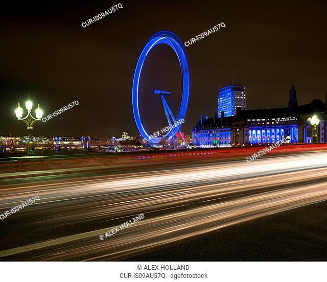 London Eye, County Hall, South Bank, at night, London, England, UK