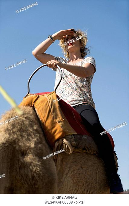 Morocco, woman on a camel