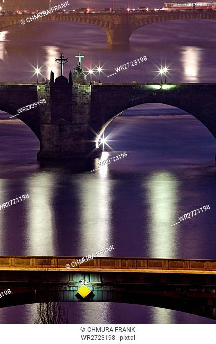 architecture, bohemia, bridge, building, Charles bridge, city, cityscape, Czech republic, dusk, Europe, evening, historic, illuminated, landmark, lights, old