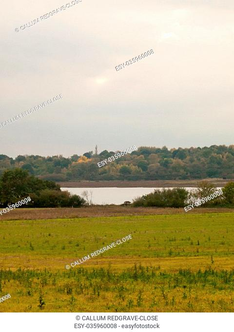 green field landscape in front of river stream overcast autumn sky; essex; england; uk