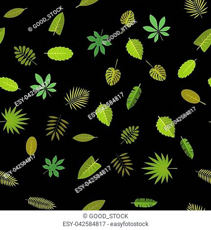 Seamless pattern with green tropical leaves. Floral background, vector illustration on black background