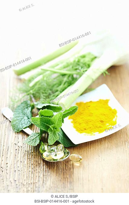 Treating stomach ache, indigestion and bloating : cod liver oil, mint, fennel, turmeric