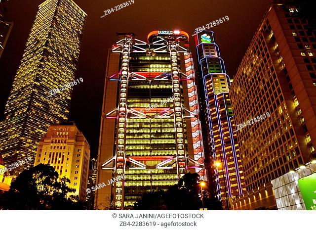 The luminous HSBC bank (middle) and Cheung Kong Center (left) , Central, Hong Kong Island, Hong Kong, China, East Asia