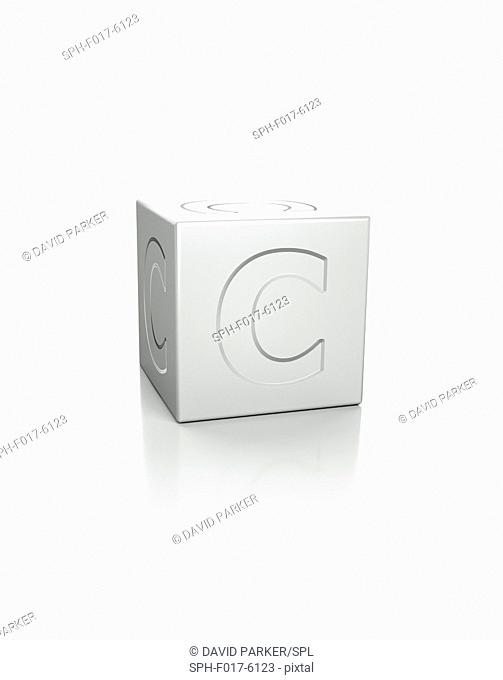 Cube with the letter C embossed