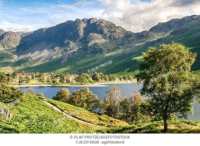 Landscape at Lake Buttermere at the English Lake District National Park near Buttermere, Umbria, United Kingdom