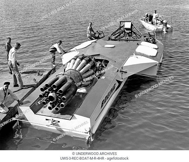 Seattle, Washington: c. 1961.The Aqua-Jet on Lake Washington, a jet engine powered experimental speed boat made by Boeing
