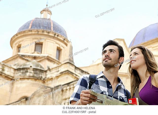Tourists looking at sights