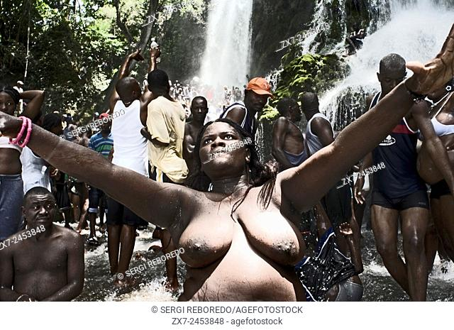 Voodoo Festival in Saut d'Eau, Haiti. In the waterfalls of Saut d'Eau they say that the Virgin Mary appeared in 1847. Since then you, each July 16